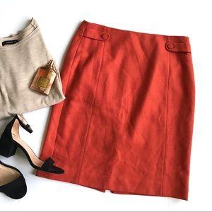 J. Crew orange will herringbone pencil skirt